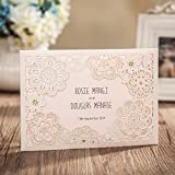 Wishmade 100X Ivory Laser Cut Wedding Invitations Kit With RSVP Cards and Envelopes For Engagement Bridal Shower Baby Shower Birthday Party CW6081