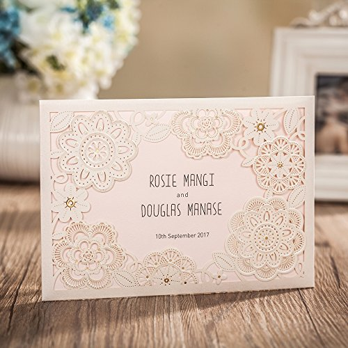 Wishmade 100X Ivory Laser Cut Wedding Invitations Kit With RSVP Cards And Envelopes For Engagement Bridal