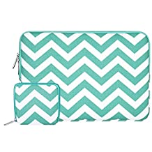 Mosiso Chevron Style Canvas Fabric Laptop Sleeve Case Bag Cover for 11-11.6 Inch MacBook Air, Ultrabook Netbook Tablet with a Small Case, Hot Blue