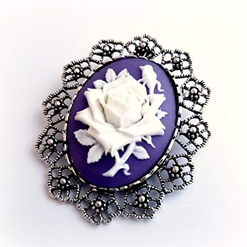 (Purple rose cameo brooch pendant)