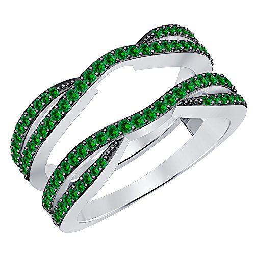 - 0.50 Carat (ctw) 14K White Gold Plated .925 Sterling Silver Emerald Ladies Wedding Band Enhancer Guard Double Ring 1/2 CT (4-12)