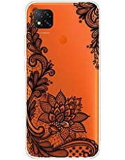Miagon Transparent Case for Xiaomi Redmi 9C,Black Rose Pattern Creaive Funny Clear Soft Ultra-Thin Flexible Silicone Drop-Protection Fully Protective Cover Case
