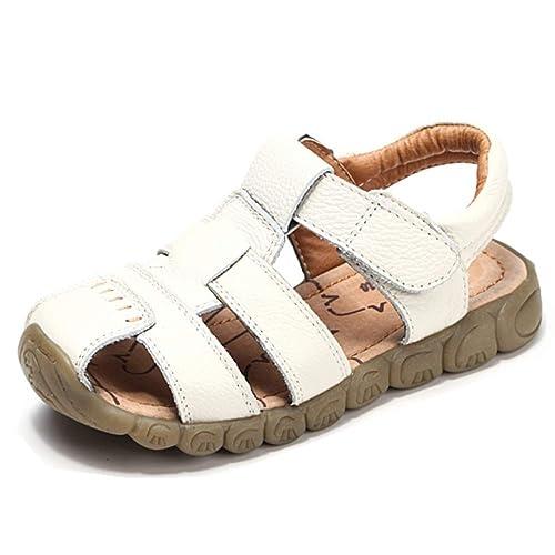 35a800deaac3a Sandales Enfant Cuir Bout Fermé Bébé Chaussure Garçon Fille Été Sandale  Blanc Noir Jaune Marron Taille 21-36 EU  Amazon.fr  Chaussures et Sacs