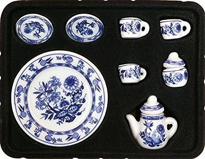 1:12 Scale 10 Pieces Dollhouse Miniature Porcelain Blue Floral Tea Set with Tray