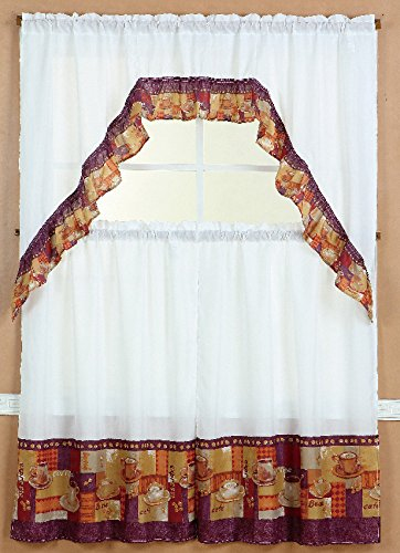 Elegant GorgeousHomeLinenDifferent Designs 3pc Kitchen Window Ruffle Rod Tier  Curtains Swag Valance Set (COFFEE 2)