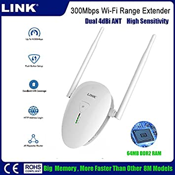 LINK 300Mbps Wifi Range Extender Repetidor Wifi inalámbrico 2.4GHz Wifi Signal Booster Con External Dual