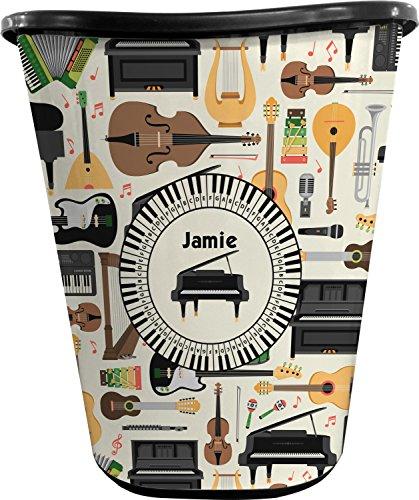 RNK Shops Musical Instruments Waste Basket - Single Sided (Black) (Personalized Wastebasket)