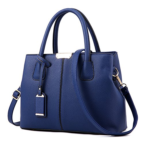 Covelin Women's Top-handle Cross Body Handbag Middle Size Purse Durable Leather Tote Bag Blue (Blue Leather Handbags)
