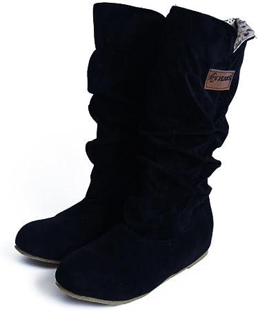 Botas Altas de Rodilla Mujer Bota de tacón Plano Zapatos de otoño Invierno -34/42