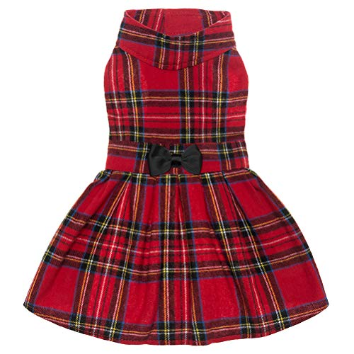 PUPTECK Classic Plaid Dog Dress Cute Puppy Clothes Outfit RED Small ¡ -
