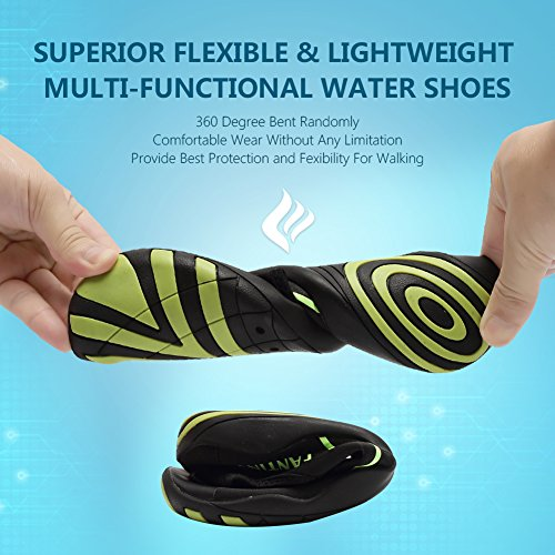 CIOR Men Women Kid's Barefoot Quick-Dry Water Sports Aqua Shoes With 14 Drainage Holes For Swim, Walking, Yoga, Lake, Beach, Garden, Park, Driving,DND012,1Black,44 4