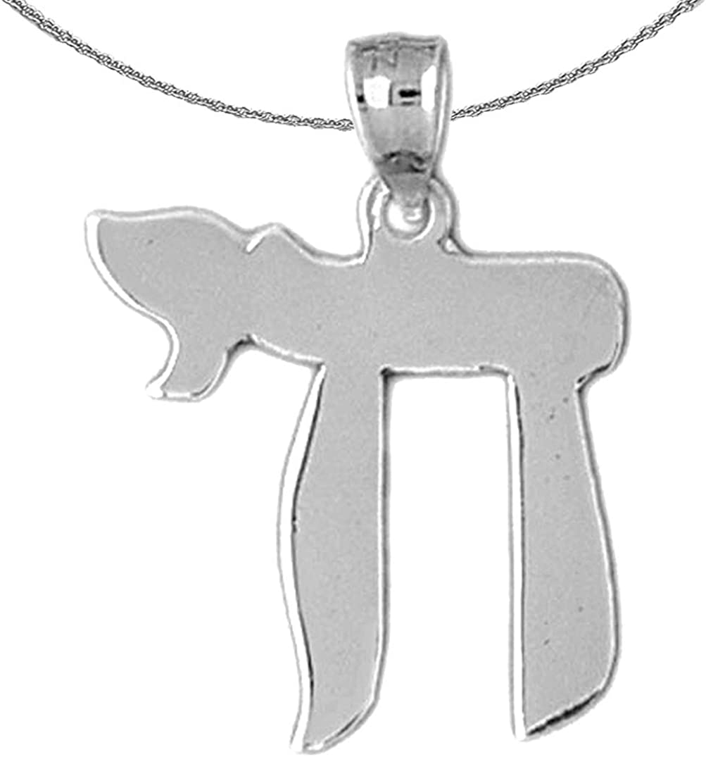 Jewels Obsession Silver Chais Necklace Rhodium-plated 925 Silver Jewish Chai Pendant with 18 Necklace
