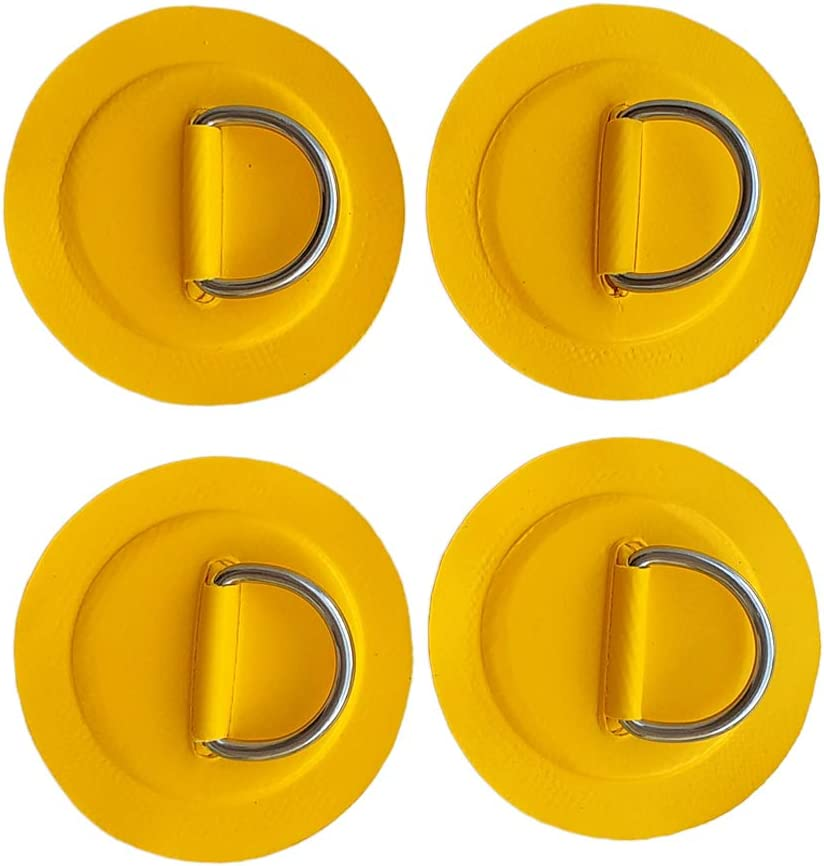 4 Pieces Universal PVC Rib Inflatable Boat Kayak Dinghy SUP Stainless Steel D-Ring Patch Pad Replacement