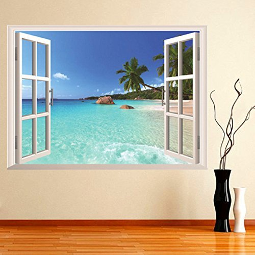 BouBou 3D Hawaii Vacation Sea View Beach Window Visualizza Sticker Decalcomania da Muro Prezzi