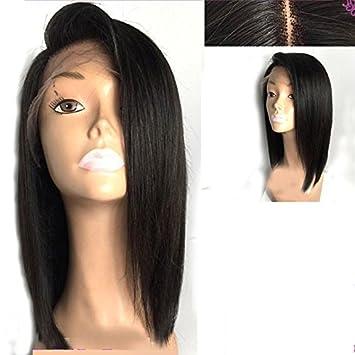 78cf2c6a7cae51 V'NICE Short Bob Human Hair Lace Front Wig Peruvian Virgin Glueless  Straight Hair Wigs