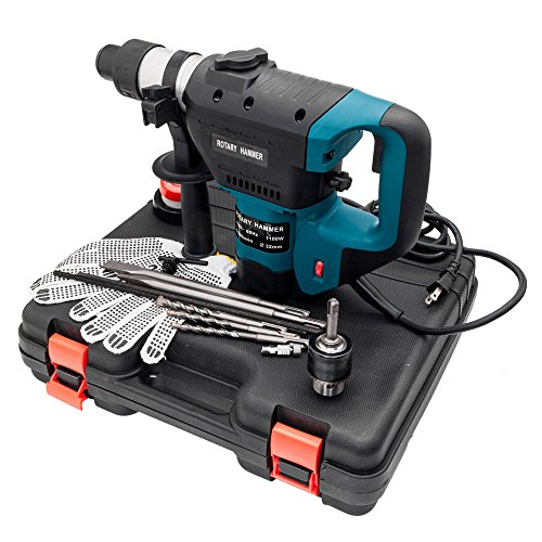"1-1/2"" SDS Electric Hammer Drill Set 1100W 110V with Chisel Kit"