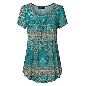 Vinmatto Women's Summer Scoop Neck Pleated Blouse Top Plus Size Tunic Shirt