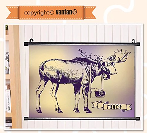 vanfan Wall Scroll Poster- Moose Hipster Deer with Shades Sunglasses and Wall Art Waves Paiting on Canvas, Pictures Wall Hanging Canvas Scroll Paintings For Living - Phase Dragon Sunglasses