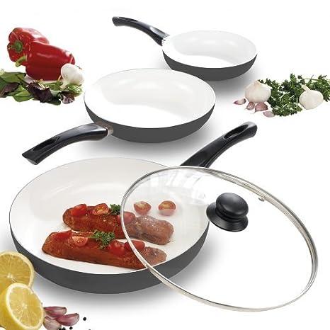 Juego de 3 sartenes Cooks de cerámica antiadherente, resistente a las raspaduras y fácil de limpiar: Amazon.es: Hogar