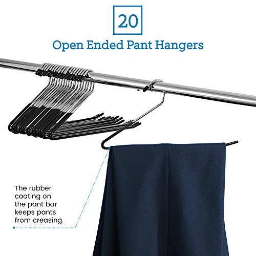 ZOBER Slack/Trousers Pants Hangers - 20 Pack - Strong and Durable Anti-Rust Chrome Metal Hangers, Non Slip Rubber Coating, Slim & Space Saving, Open Ended Design for Easy-Slide Pant, Jeans, Slacks Etc - bedroomdesign.us
