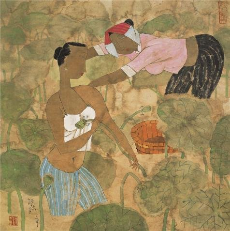 Oil Painting 'Hu Yongkai,The Lotus Pond,21th Century' Printing On High Quality Polyster Canvas , 20x20 Inch / 51x51 Cm ,the Best Kitchen Decor And Home Gallery Art And Gifts Is This Replica Art DecorativeCanvas Prints