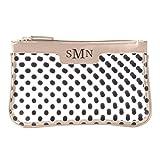 Personalized Polka Dot Clear Cosmetic Bag - Tan