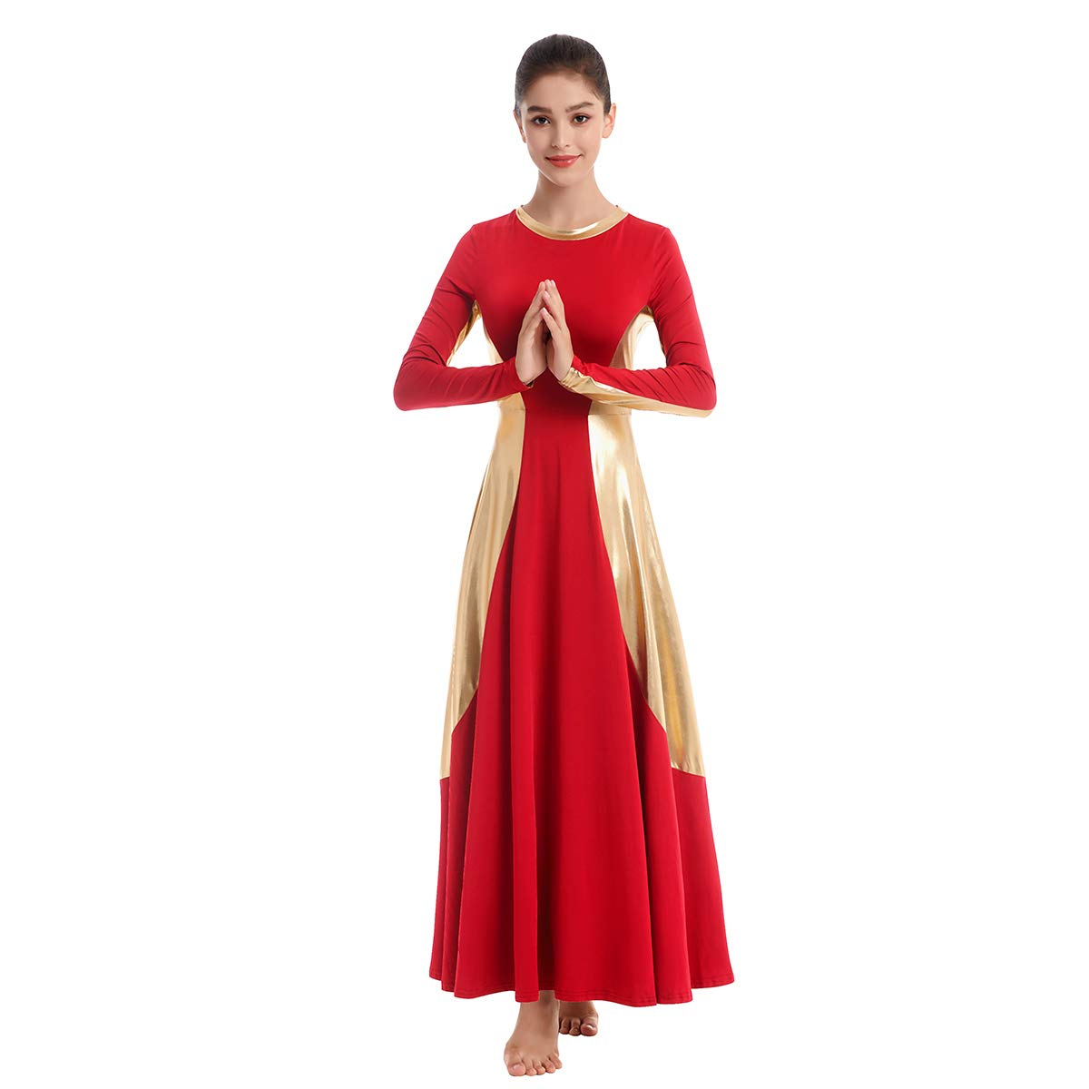 Womens Adult Bell Long Sleeve Liturgical Praise Lyrical Dance Training Dress Loose Fit Full Length Worship Ballet Ballroom Costume Swing Maxi Gown Red-Gold L by IBAKOM