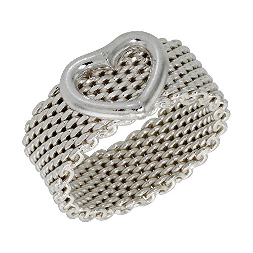 Sterling Silver Heavy Mesh Ring w/ Heart Handmade 5/16 inch wide, size 7