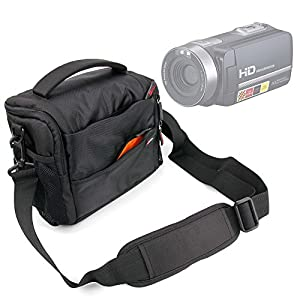 Shock-Absorbing & Water-Resistant Carry Bag in Black & Orange for PowerLead Puto PLD003 Mini Camcorder - by DURAGADGET_US
