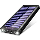 Power Bank TSSIBE 24000mAh Portable Charger with 4 Output & 3 Input(Type-C, Micro,L) Solar Charger, Built in LED Flashlight External Battery Pack for All the Phones