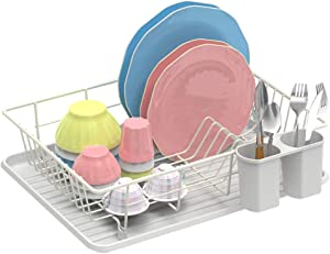 Dish Drying Rack, GSlife Dish Rack with Tray Dish Drainer for Kitchen Countertop,White