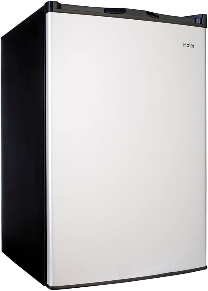 Haier 4.5 Cu Ft Compact Refrigerator, Virtual Stainless Steel Black