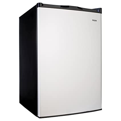 Haier 4.5 Cu Ft Compact Refrigerator, Virtual Stainless Steel/Black