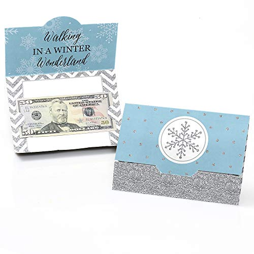(Winter Wonderland - Snowflake Holiday Party & Winter Wedding Money and Gift Card Holders - Set of 8)