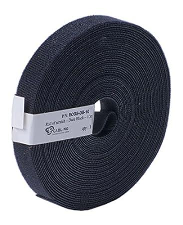 PatchSee eco-scratch Fascetta fermacavi in Velcro, lunghezza 10m, larghezza 19mm, Nero, ECOS-DB-10