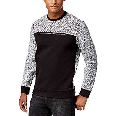 Calvin Klein Mens Pattern Block Zipper Detail Sweatshirt