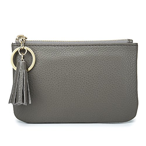 Aladin Wide Coin Change Purse Wallet with Key Ring & Leather Tassels Zip Tab Gray
