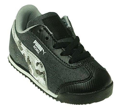 Black Suede Camo (Puma Roma Denim Camo Boy Sneaker (10 M US Big Kid, Black/Limestone Gray))