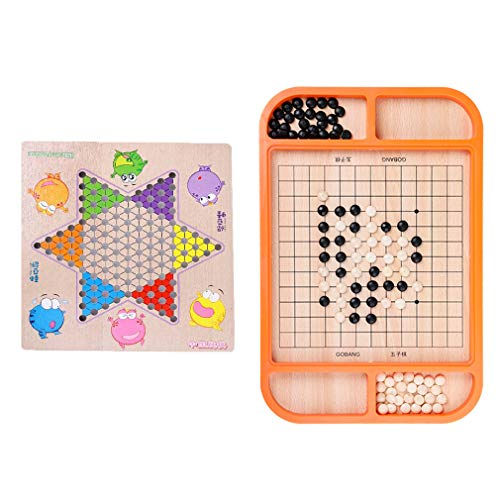 QWEA 2 in 1 Chinese Checkers Gobang Table Games Multi-Function Adult Chess Children's Educational Wooden Toys/Includes 60 Wooden in 6 Colors Chessman