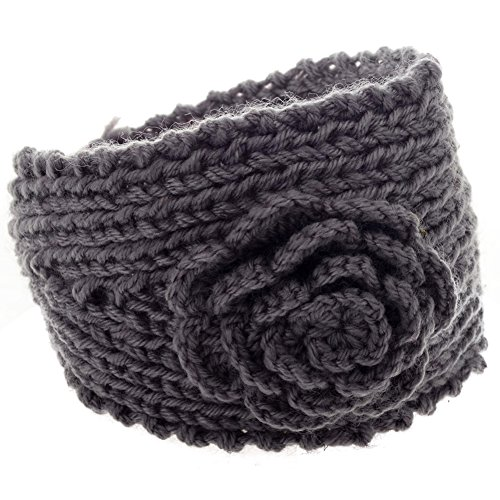 Imixlot Women Lady Crochet Headband Hairband Flower Winter Ear Warmer Elastic Headwrap (Grey)