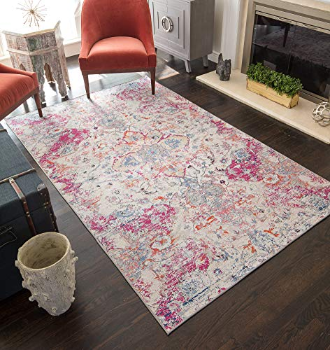 CosmoLiving SR15A Phoebe Collection Area Rug, 8' x 10', Ivory - Rug Fuschia 8' Area