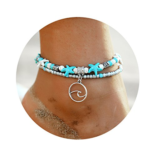 - 17mile Wave Blue Starfish Silver Turtle Anklet Multi-layer Turquoise Charm Beads Sea Bench Handmade Boho Anklet Foot Jewelry Gifts for Women