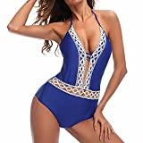 CFR Sexy Lace Crochet Deep V Neck One Piece Swimsuit with Back Cutout Bikini Set Swimwear Monokini Blue,M UPS Post