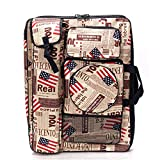 Water-Resistant Artist Portfolio Tote and Backpack Bag for Drawing Sketching Painting Art Supplies Storage and Traveling, Flag Pattern, 26 x 19.7 inch