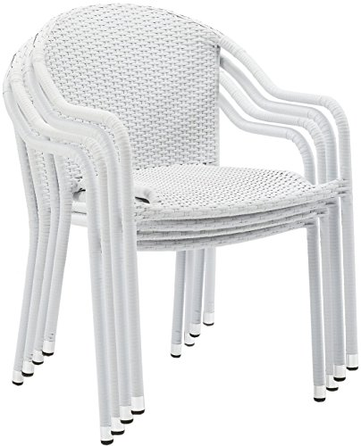 Crosley Furniture Palm Harbor Outdoor Wicker Stackable Chairs – White Set of 4