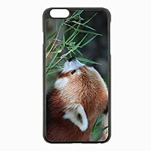 iPhone 6 Plus Black Hardshell Case 5.5inch - panda grass face Desin Images Protector Back Cover