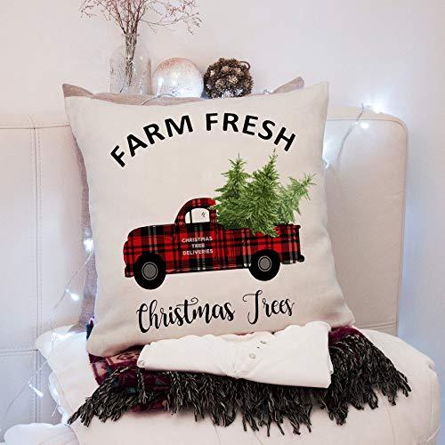 Cotton Linen Christmas Deer Pillow Case Cushion Cover Bed Sofa Home Car Decor