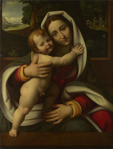 Perfect Effect Canvas ,the High Quality Art Decorative Prints On Canvas Of Oil Painting 'Workshop Of Andrea Solario The Virgin And Child ', 12 X 16 Inch / 30 X 40 Cm Is Best For Basement Decoration And Home Artwork And Gifts