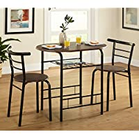 Kissmoji 3 Piece Dining Set Breakfast Bar Kitchen Table Chairs Furniture (Black)