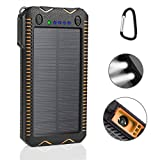 LANIAKEA 15000mAh Solar Powered Battery Charger with Cigarette lighter Function, USB Solar Panel Waterproof Power Bank Charger for Outdoor Camping Traveling Hiking, Orange